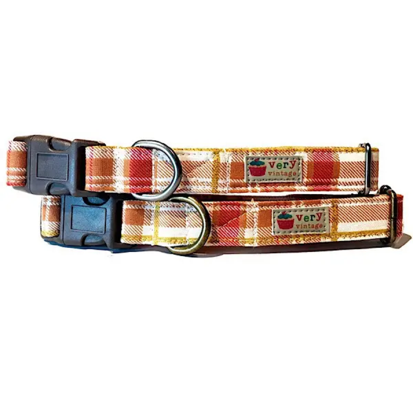 Vintage organic collar fall plaid colors on cream