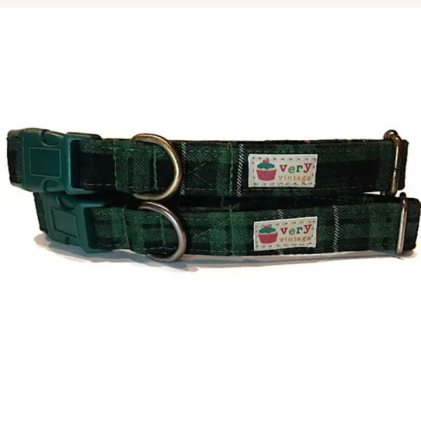 Vintage organic collar green and black plaid