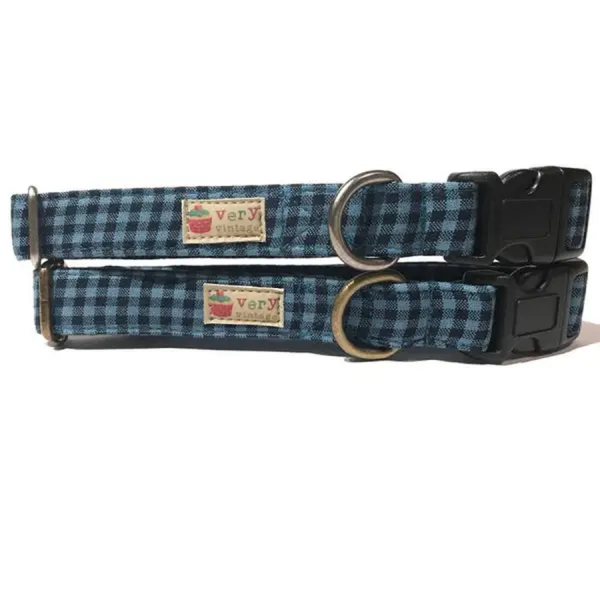 Vintage organic collar blue and black wide plaid