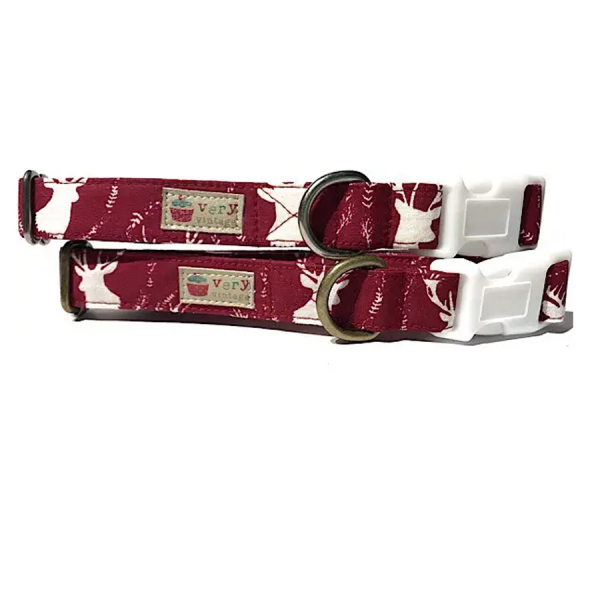 Vintage organic collar maroon dog collar with deer