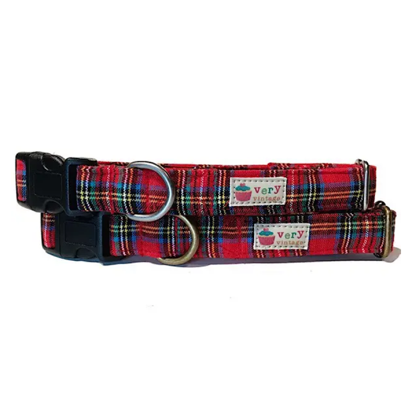 Vintage organic collar red plaid collar for your dog