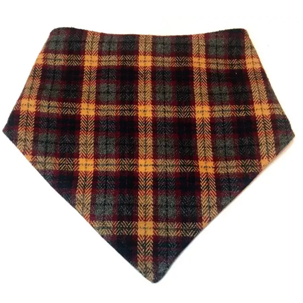 A brown and gray plaid flannel bandana