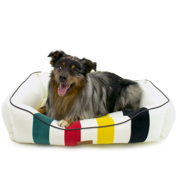 White Glacier Kuddler bed with dog