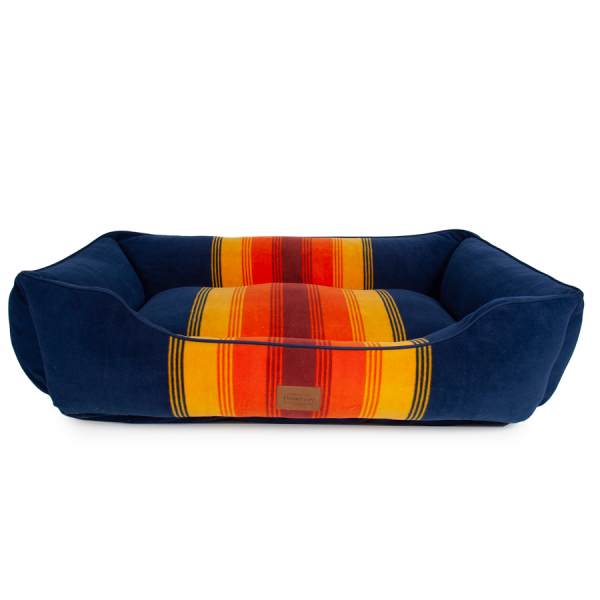 Blue Kuddler bed stripes are yellow, orange, red front
