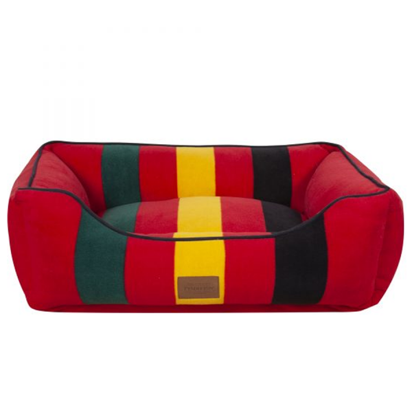 Red bed with green, yellow & black front
