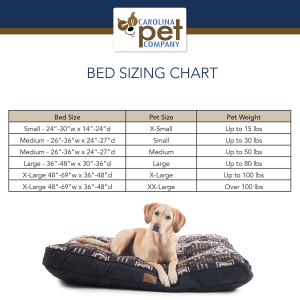 Carolina Pet Dog Bed Size Chart