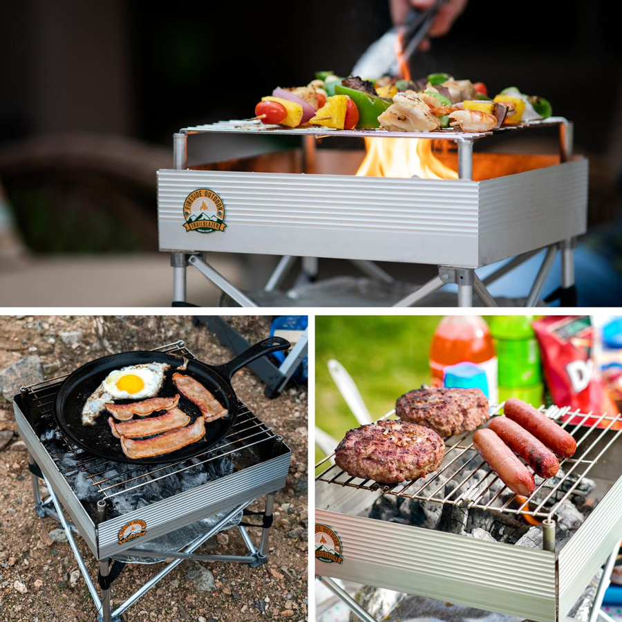 Trailblazer camp cooking on a aluminum and stainless-steel rust resistant grill