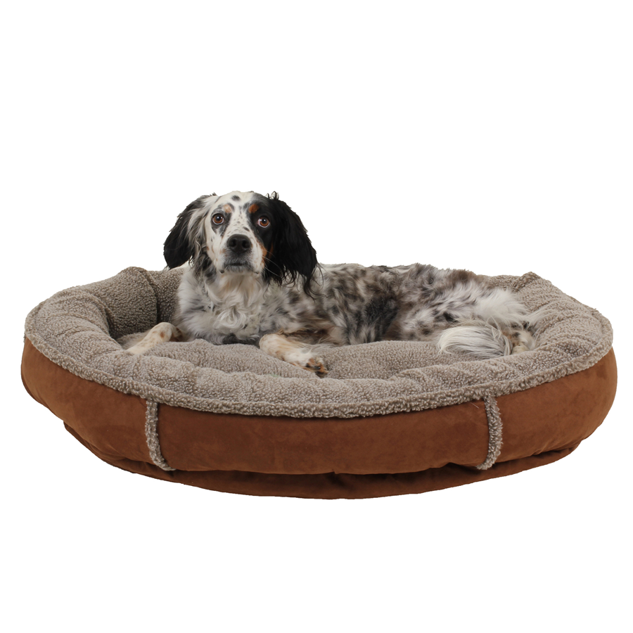 Dog on a Plush Round Comfy Cup Chocolate dog bed