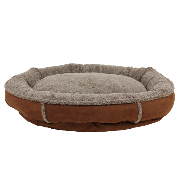Tipped berber Round Comfy Cup Chocolate dog bed