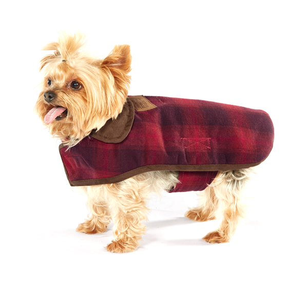 Pendleton Red Ombre small dog coat with adjustable belt