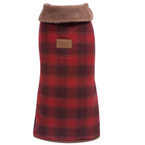 Pendleton Red Ombre dog coat with adjustable belt