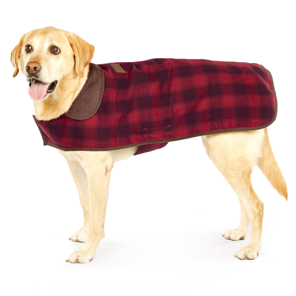 Pendleton Red Ombre dog coat on a Labrador