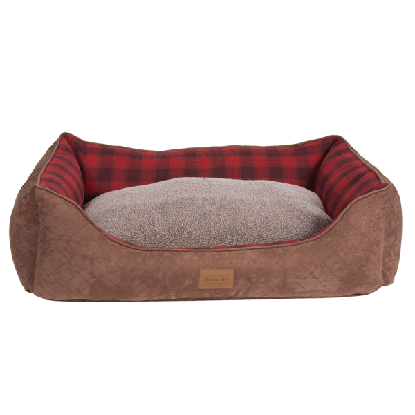 Red Ombre Plaid Kuddler reversible cushion