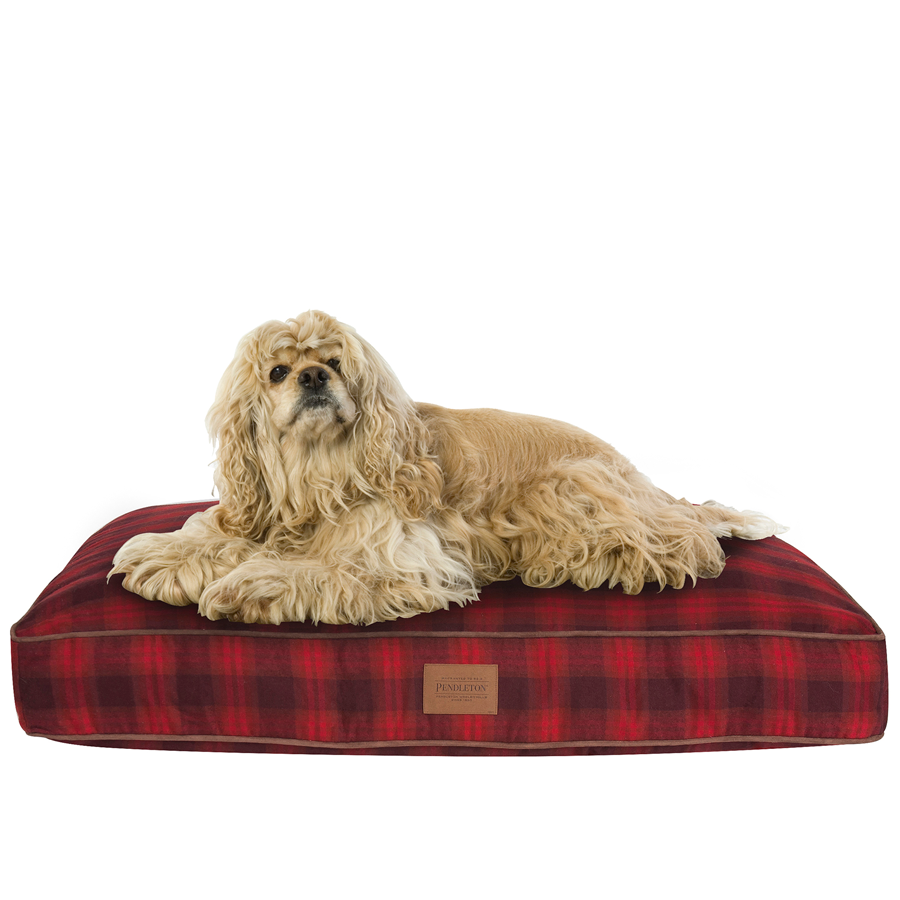Dog on a Red Ombre Plaid Napper