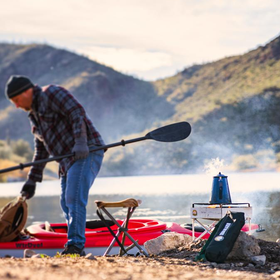 Trailblazer portable for adventures constructed of aircraft aluminum and stainless-steel.