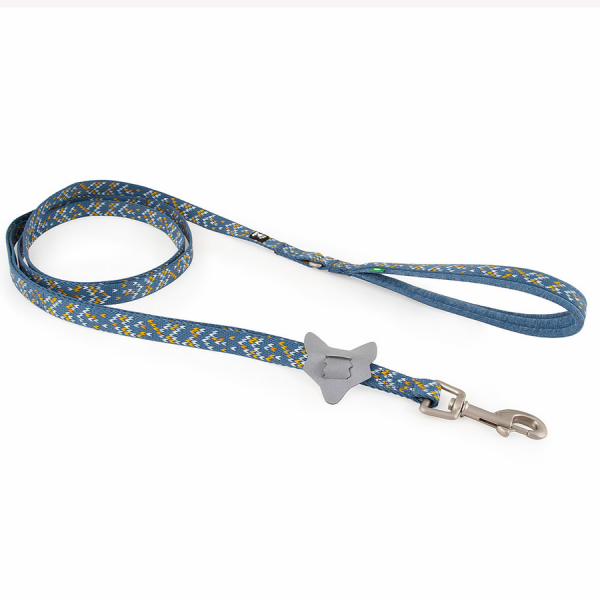 A light blue leash with a yellow and white design